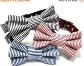 ON SALE Bowtie Dog Collar- Choose Black, Red or Navy Seersucker