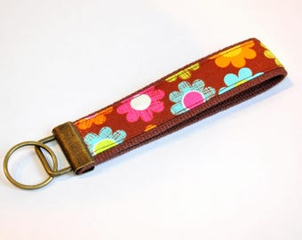 Key fob Keyfob fabric wristlet  Key chain fabric lanyard floral key fob