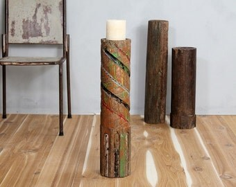 Large Wood Antique Candle Holder Aztec Green Red Blue Black Global Indian Column Part Naturally Distressed Patina Architectural Element