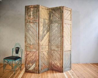 Screen 4 Panel Room Divider Chevron Pattern Vintage Indian Salvaged Doors Wood Headboard Industrial Furniture Boho Furniture