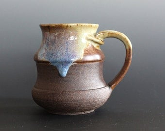 Pottery Mug, 14 oz, unique coffee mug, handmade ceramic cup, handthrown mug, stoneware mug, wheel thrown pottery mug, ceramics