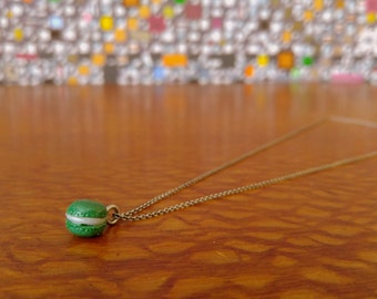 Made to Order Sterling Silver Cable Clay French Macaron Necklace- Forest Green