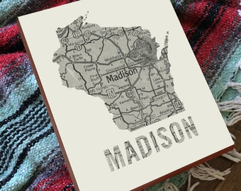 Madison Wisconsin - Madison WI - Madison Map - Madison Wisconsin Art - Wood Block Wall Art Print