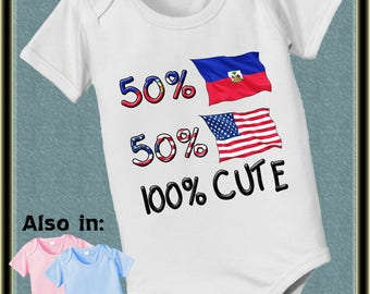 short sleeve and long sleeve 50 Haiti 50 American 100 cute baby infant bodysuit baby bodysuit, baby shower gift