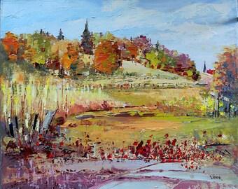 Landscape painting, fall landscape, Original oil painting on canvas, wall decor, home decor, impressionism art, palette knife art
