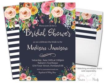 FLORAL Bridal Shower Invitation, Floral Engagement Invitations, Engagement Party Invitation, Bridal Shower Invites, Modern Bridal Invite