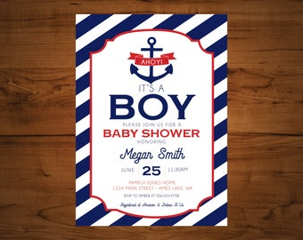 Ahoy it's a boy Baby shower invitations, Nautical invitations, Baby Shower invitation - set of 15