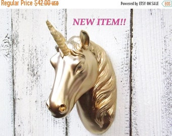 ON SALE GOLD Unicornwith Gold Horn~Unicorn Wall Hanging~Faux Unicorn