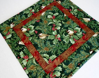 Winter Quilted Table Topper with Chickadees and Pines, Christmas Quilted Table Runner, Quilted Candle Mat, Holiday Table Quilt, Chickadees