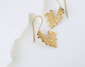 Small Earrings Hearts Butterfly Wings in Gold Bronze on 14K Gold-filled Earwire Delicate Jewelry Handmade by Artist Inspired by Bette Midler