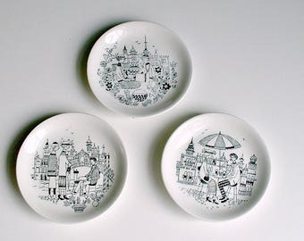 "Arabia  Finland ""Emilia"" Pattern Raija Uosikkinen Mini Plates Scandinavian Modern Decor Mid Century Wall Plates Scandinavian Decor Lot of 3"