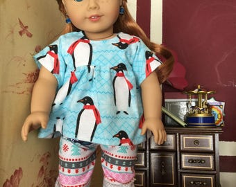 Penguin fair isle flannel pjs for American girl size dolls