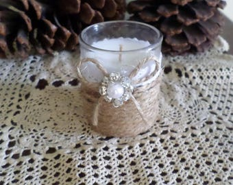Rustic Wedding Jute Wrapped Votive Candle