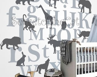 Kids  Alphabet vinyl decal - ABC decal - A to Z letters - nursery decal - wall sticker - children decal - Big decal