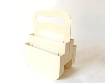 Vintage Mod Off White Plastic Magazine Rack ... Olaf von Bohr for Kartell, Italy, ABS Plastic Designer Caddy, Handle, Atomic Space Age