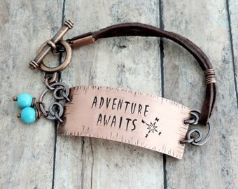 Adventure Awaits Leather Bracelet - Wanderlust Jewelry - Gift for Traveler - Adventure Seeker - Stamped Jewelry - Compass Rose