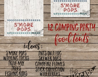 Camping Birthday (or any event) Food Tents - DIY Printing OR Professional Prints