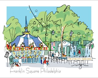Philadelphia Franklin Square fine art print 2 sizes