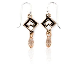 Crystal Drop Earrings | Gold Crystal Earrings | Diamond Shaped Earrings