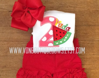 watermelon birthday twotti tutti frutti Icing Shorts Boutique Bow Hot Pink red Yellow Polka Dot Applique 1st 2nd 3rd 4th 5th
