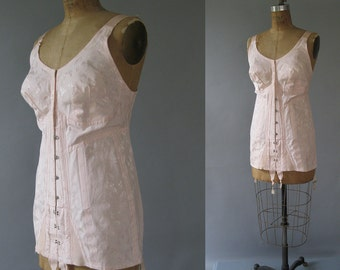 Vintage Plus Size 1950s Corset - All in One Rengo Pink Corset - Girdle 4 Garters