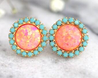 Opal earrings, Coral Mint earrings, Opal Stud Earrings, Tangerine bridesmaids Earrings, Gift For Her, Orange Earrings, Fire Opal Earrings