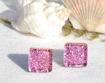 """Small Dichroic Glass Stud Earrings, Fused Glass Jewelry, Sterling Silver, Square - Pastel Spring, Pink,  >3/8"""" or 11mm (Item #30947-E)"""