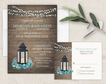 Wedding Invitation Printable Lantern Teal Florals Rustic Wood Country Barn String Fairy Lights Blue Digital or Printed Digital Template Kit