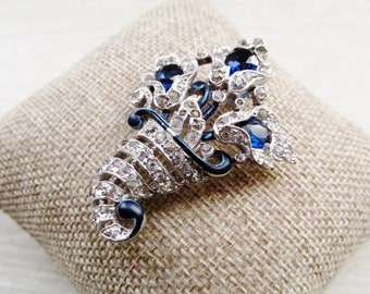 TRIFARI Fur Clip, Crown Trifari Brooch, Cornucopia Pave Rhinestone and Blue Stone Fur Clip, Alfred Phillipe Design