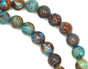 Blue Sky Jasper (More Brown) Beads - 6mm Round - Limited Quantity