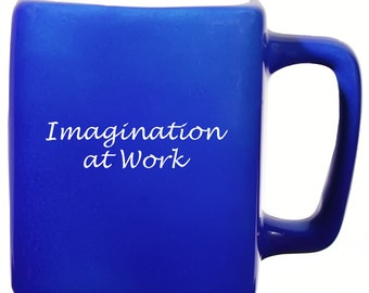 Square Mug with Imagination at Work Quote  Assorted Colors