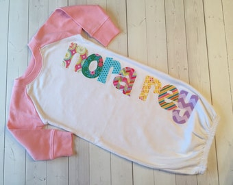 Personalized Raglan gown, Newborn Gown, Infant Gown, Personalized Infant Gown-New Baby Gift-Coming Home Outfit