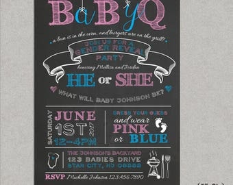 Chalkboard BabyQ Gender Reveal Party Invitation - He or she what will it be - Pink or Blue