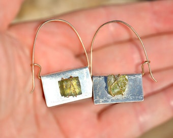 Roman Glass Silver Earrings Roman Glass Jewelry from Israel Silver Sheet Hoop Earrings Roman Glass Mixed Metal Earrings Silver Gold Filled