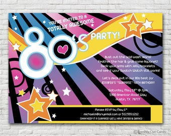 Super Bright 1980s Invitation - Printable or Printed (w/ FREE Envelopes)