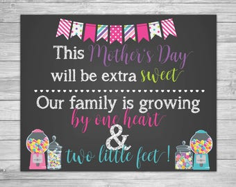 Mother's Day pregnancy announcement -  Printable Pregnancy Announcement Chalkboard - One Heart Two Feet - Pregnancy Sign- Baby Reveal Prop
