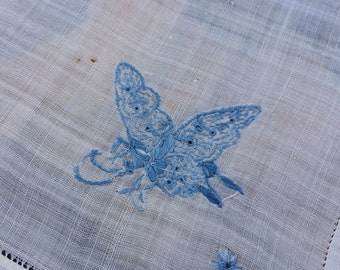 Embroidered Linen Dresser Scarf Table Runner Butterfly Design