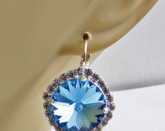 Handmade Lever Back Silver Overlay Blue And White Crystal Earrings 14mm Crystal Rivoli Oscarcrow
