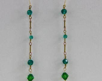 Hand Assembled Vintage Chain Earrings 4 inch Length Green Blue Green Brass on Gold Plated Hooks
