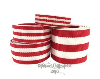 10 Yds WHOLESALE Red TAFFY Stripes grosgrain ribbon LOW Shipping Cost