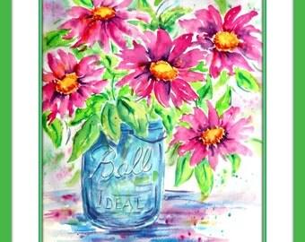 Blue Ball Jar Watercolor Pink FLowers Bouquet by Martha Kisling