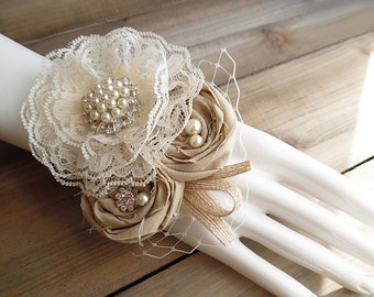 Ready to Ship ~~~ Wrist Corsage, Lace Flower, Tan Rolled Cotton Roses, Rhinestones. Rustic Shabby Chic Wrist Corsage