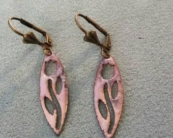 Pink Earrings, Flower Earrings, Pink Tulip Cutout Copper Earrings, Gothic Flower Earrings, Pink Copper Enamel Earrings, Pink Tulip Earrings