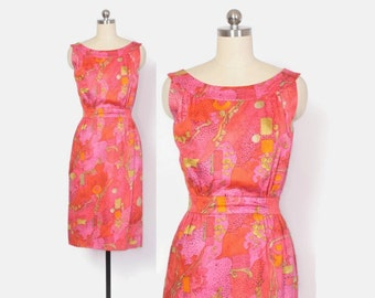 Vintage 60s Wiggle DRESS / 1960s Abstract Print Sleeveless Cotton Sheath Dress S