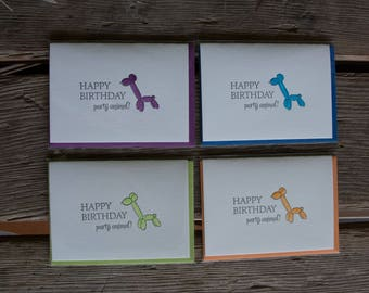 Balloon animal birthday cards, letterpress printed and hand water colored card. Eco friendly
