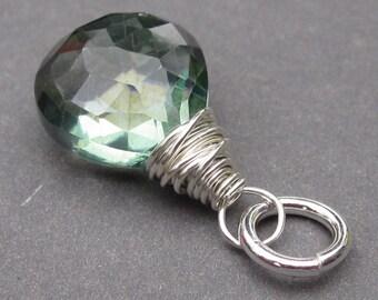Green Mystic Quartz Pendant, Sterling Silver Wire Wrapped Pendant, Mystic Quartz Bracelet Charm, Necklace Pendant,  Interchangeable Pendant