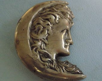 Antique Art Nouveau Victorian lady on crescent moon vermeil golden brooch,collectible jewelry