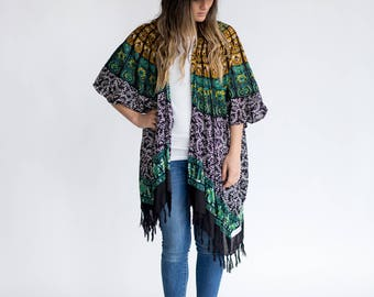 Turquoise Dream Boho Kimono  <Black, White, Turquoise, Teal, Gold Mandala Design> Gypsy Fashion, Bohemian Swag, Jacket Poncho, Womens Wear
