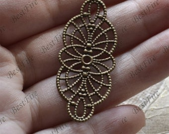10pcs Antique Brass flower Filigree Jewelry Connectors Setting,Connector Findings,Filigree Findings,Flower Filigree