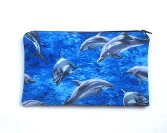 Dolphin Fabric Zipper Pouch / Pencil Case / Make Up Bag / Clutch